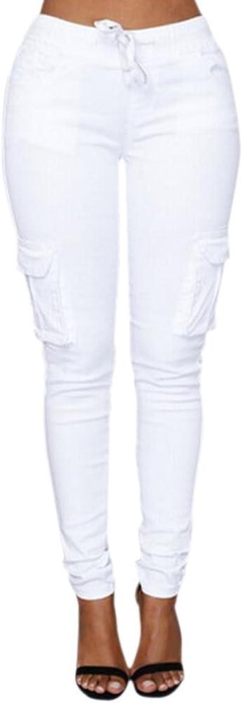Mujer Minetom Mujeres Verano Casual Elastico Moda Altura Cintura Pantalones Con Cordon Ropa De Sport Slim Carga Pantalon Ropa Brandknewmag Com