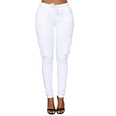Minetom Femme Pantalons Jeans Taille Haute Slim Legging Cordon