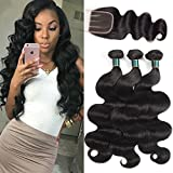 HUA Hair Brazilian Body Wave with Closure 8A Virgin Hair Body Wave 3 Bundles with 3 Part Lace Closure (4×4)Unprocessed Virgin Human Hair Weave Bundles Natural Black Color (16 18 20+14) Review