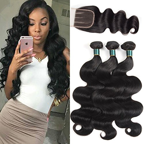 HUA Hair Brazilian Body Wave with Closure 8A Virgin Hair Body Wave 3 Bundles with 3 Part Lace Closure (4×4)Unprocessed Virgin Human Hair Weave Extensions Natural Black Color (12 14 16+12)