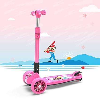LIANG Scooter De Un Solo Pedal para Niños De Cuatro Ruedas Patines 1-3-