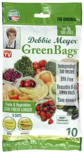 Debbie Meyer GreenBags Freshness-Preserving Food/Flower Storage Bags (Large, 10-Pack) Debbie Meyer Green Boxes