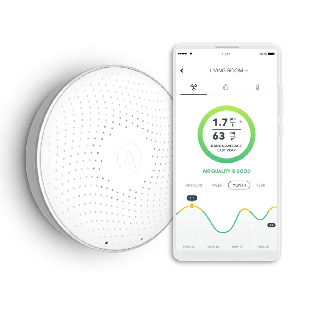 Airthings Wave Smart Radon Detector with free app - Easy-to-Use - Temp and Humidity - Accurate - No Lab Fees - Battery Operated by Airthings