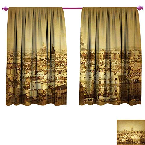 (Eiffel Tower Room Darkening Wide Curtains Classic Photo of Eiffel Tower Paris National Landmark Old Album Memories Vintage Waterproof Window Curtain W55 x L72 Brown)