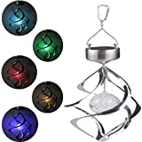 Wind Spinner LED Light Idealgo Solar Power Wind Chime Moving Rotating LED Light Hanging Lamp Color changing Solar Light Wind Chime Spinner for Garden, Patio, Yard, Home, Christmas Tree, Parties