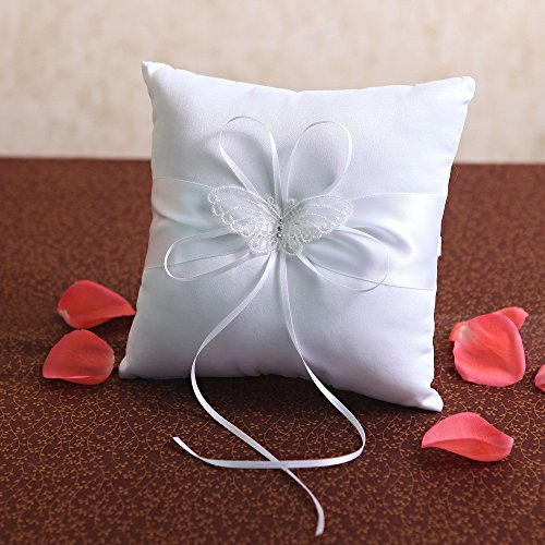 KateMelon Ring Bearer Pillow with Lace Butterfly, 8-Inch, White