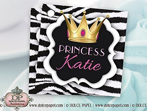 10 Pink and Black Princess Gold Crown Zebra Print Wedding or Birthday Party Favor Tags