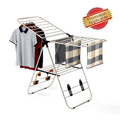 SUNPACE Extra Large Multi-use Heavy Duty Stainless Steel Clothes Drying Rack, Rust-proof Garment Rack for balcony