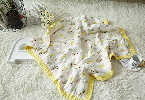 "J-pinno Baby Cows Ducks Nursery Muslin Cotton Bed Quilt Blanket Crib Coverlet 43.5"" X 43.5"" (Cow) from J-pinno"
