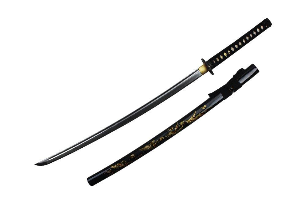 Onikiri F-570-CR 1045 Carbon Steel Handmade Katana Scabbard with Hand Drawing Crane, 41.5', Black 41.5 Neptune Trading Inc.