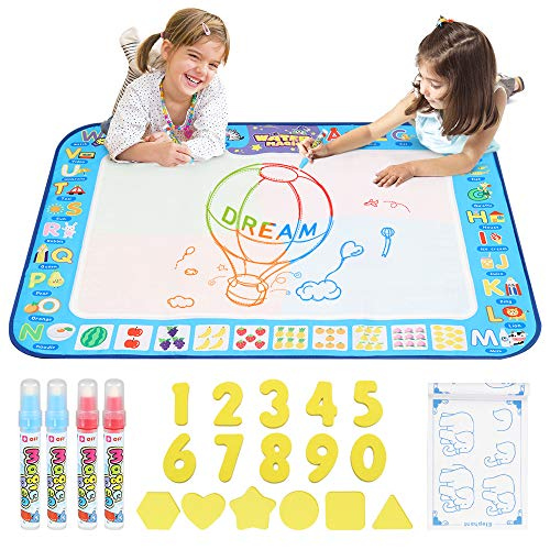 D-FantiX Water Doodle Mat, Extra Large Water Drawing Mat Kids Magic Doodle Board Painting Writing Pad with 4 Magic Pen Educational Toy Gift for Toddlers Boys Girls 4 Colors 38.5