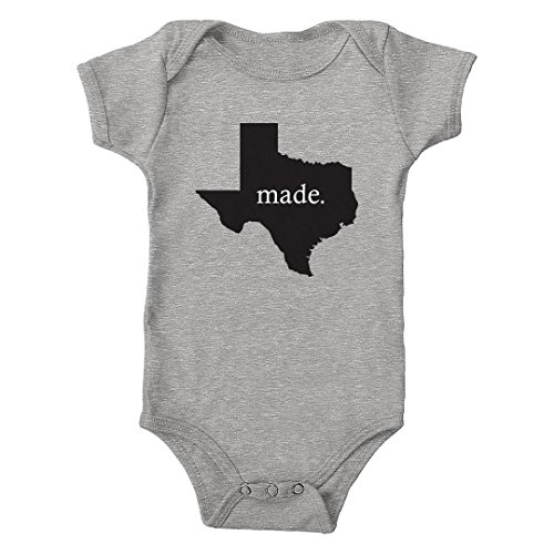 Trunk Candy Infant Texas Made 100% Cotton One-Piece Bodysuit (Heather, 6M) (Made Texas Onesie In Baby)