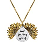 LIAOWY Keep Going Engraved Necklace Sunflower
