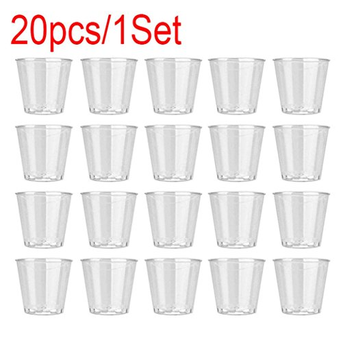 SANNYSIS 20PC 1 Ounces Disposable Clear Plastic Shot Glasses Party Jelly Cups Tumblers Birthday