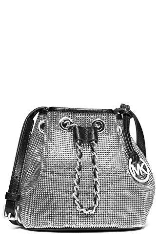 michael michael kors frankie silver mesh black leather crossbody rh amazon com