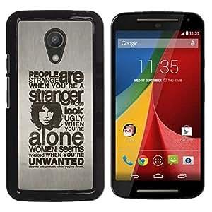 Motorola Moto G2 II / Moto G (2nd gen) / Moto G (2014) , Radio-Star - Cáscara Funda Case Caso De Plástico (Typography - People Are Strange)