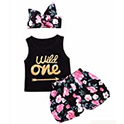 Baby Girls Toddler Kid's Summer Clothes Sleeveless Tops+Pants Set Flower 9-12Months Yellow