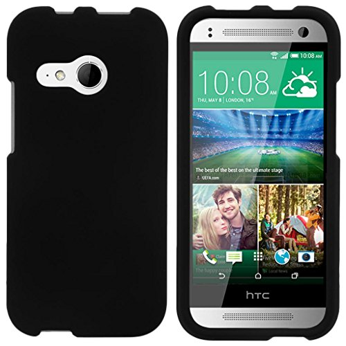 ible for HTC One M8 Mini Case | One Mini 2 | One Remix [Slim Duo] Fitted Ultra Slim Cover Rubberized Snap On Protector Customed Design on Black - Black ()