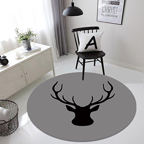 Rug WAN SAN QIAN- Creative Round Living Room Carpet Fashion Round Carpet Home Carpet Bedside Blanket Carpet Bedroom Animal (Size : 120x120cm) by Rug