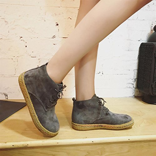 Flat DEESEE Martin Ankle Female Lace TM Boots Up Ladies Gray Suede Shoes Women Leather Soft xxw1HfRpq