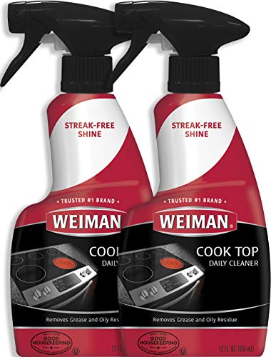 Weiman Ceramic and Glass Cooktop Cleaner - 12 Ounce 2 Pack - Daily Use Professional Home Kitchen Cooktop Cleaner and Polish for Induct
