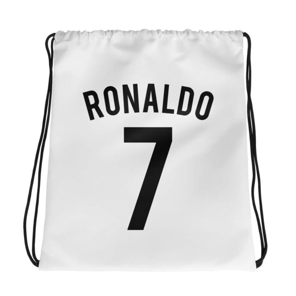 Ronaldo 7 Football New Soccer Player CR7 Cristiano Juve Fan Jersey Sports Drawstring Backpack Cotton Handmade Drawstring Bag In Print Gift Bag, Sack Packs