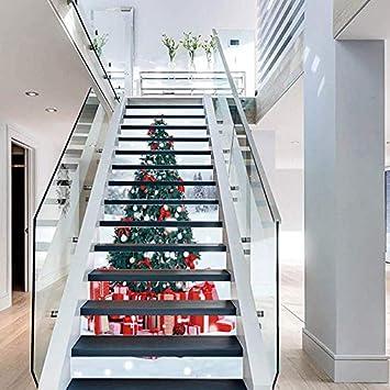 FLFK 3D Árbol de Navidad auto-adhesivos Pegatinas de Escalera pared pintura vinilo Escalera calcomanía Navidad Decoración 39.3 pulgadas x7.08 pulgadas X 13Piezas: Amazon.es: Bricolaje y herramientas