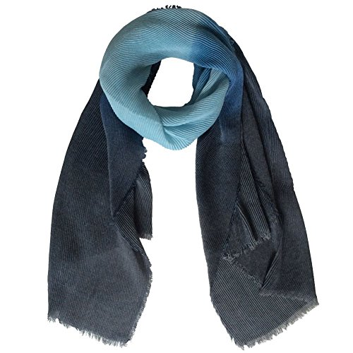 Stripe Crinkle Scarf (Lily Park Womens' Soft Light Weight Colorful Watercolor Stripes Crinkle Scarf Shawl (Sky/Navy))