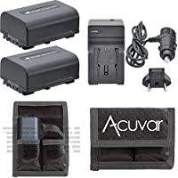 2 NP-FV50 Replacement Batteries + Car / Home Charger + Acuvar Battery Pouch for Sony Handycam NEX-VG10, NEX-VG20, NEX-VG20H, NEX-VG900, HDR-CX110, HDR-CX130, HDR-CX150, HDR-CX150E, HDR-CX160, HDR-CX170 and Other Models