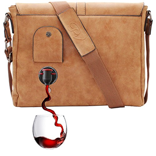(PortoVino Wine Messenger Bag (Camel) - Holds 2 bottles of Wine - Stylish with Hidden, Insulated Compartment - Discreetly Store & Pour 1.5L from Partypouch!)