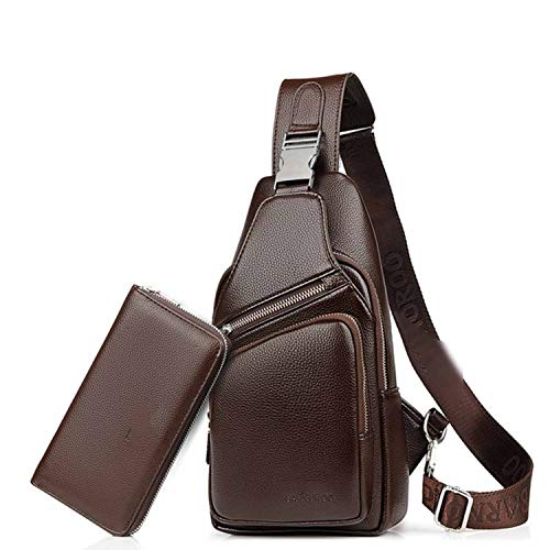Recycled Vertical Messenger Bag - Men Chest Bag Leather Waterproof With USB Charging Earphone Hole Casual Messenger Shoulder Bag For Male Crossbody Bag Waist Pack