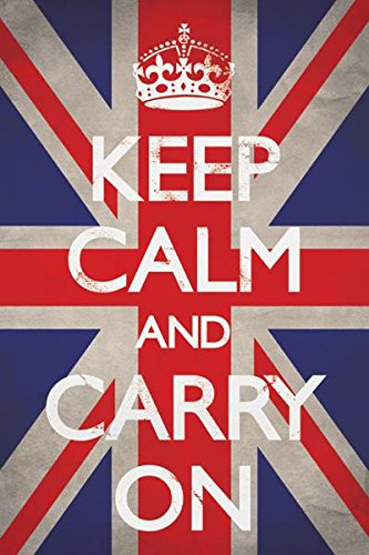 Keep Calm Carry On Motivational Inspirational WWII British Morale Union Jack Flag Poster 24x36