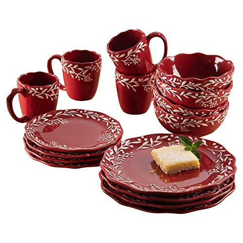 American Atelier Holiday Round Dinnerware Set – 16-Piece Ceramic Party Collection w/ 4 Dinner Salad Plates, 4 Bowls & 4…