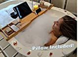RATINI BATHTUB ESSENTIALS - Includes 2018 Expandable Bamboo Bathtub Caddy Tray + Mildew Resistant Suction Bath Pillow + Magic Tape
