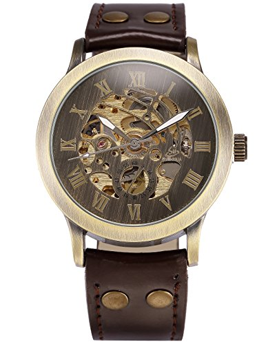 Analog Mechanical Casual Watch - HELMASK watch - Synthetic Leather Brown Round man mens men boy Casual Analog Mechanical Automatic Wrist Watch