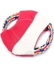 Pet Dog Frisbee Disc Teeth Cleaning Cotton Rope Circle Tug fetch Toy
