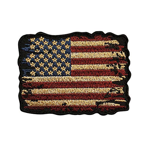 Distressed American Flag Vintage Look Patch (3.0 inch- Iron on sew on MTB2) (Distressed Patch)