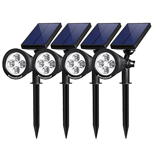 InnoGear Upgraded Solar Lights 2-in-1 Waterproof Outdoor Landscape Lighting Spotlight Wall Light Auto On/Off for Yard Garden Driveway Pathway Pool, Pack of 4 (White ()