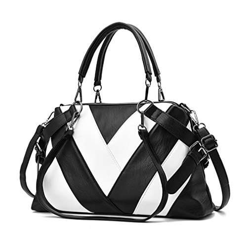 Leather Handbag Handbags Bags Women Stripe Ladies Shoulder Bag BagsWomen Tote 81BxwUdq