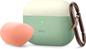 elago Duo Case with Keychain Designed for Apple AirPods Pro Case, 2 Caps + 1 Body [ Classic White, Peach + Pastel Green ]