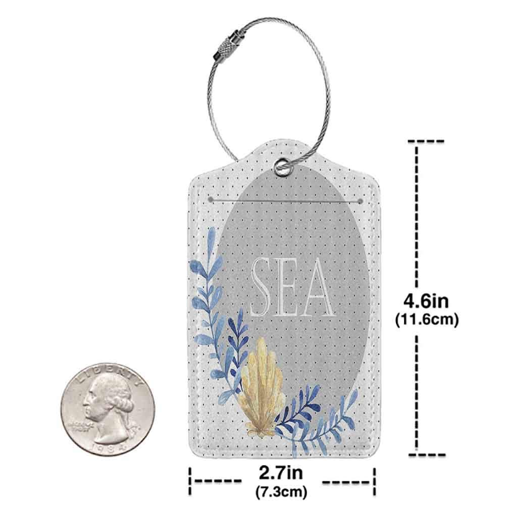 Flexible luggage tag Modern Coral Reed with Pearl Shell on Polka Dots Background Marine Ocean Graphic Art Fashion match Blue Grey Cream W2.7 x L4.6