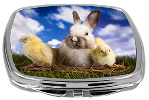 Rikki Knight White Easter Bunny with Yellow Chicks in Basket Design Compact Mirror, 17 Ounce