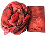 Smiling Wisdom - Red Merlot Colored Leaf Scarf Friendship Gift Set - Reason Season Lifetime Friendship Greeting Card - Leaves Scarf Gift Set - True Best Forever BFF Friend - Special Gift For Her - Red