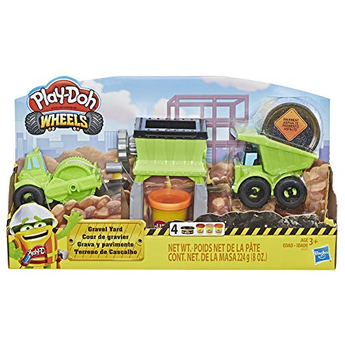 (Play-Doh Wheels Gravel Yard Construction Toy with Non-Toxic Pavement Buildin' Compound Plus 3 Additional Colors )