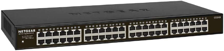 NETGEAR 48-Port Gigabit Ethernet Unmanaged Switch (GS348) - Desktop/Rackmount, Fanless Housing for Quiet Operation
