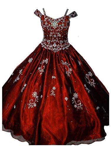 (Leho Girls' Princess Beading Ball Gowns Pageant Dresses 6 US Burgundy)