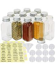 SimpleHouseware Square Spice Jar Bottles w/labels (6oz), 12 Pack