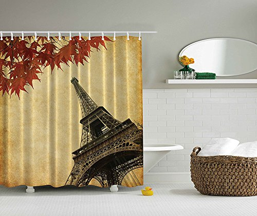 [Eiffel Tower Shower Curtain European Cityscape Paris Love Decor by Fall Leaves in Autumn View French Romantic City of Honeymoon Art Prints Fabric Bathroom Set Dark Red Yellow] (Nerd Costumes At Party City)