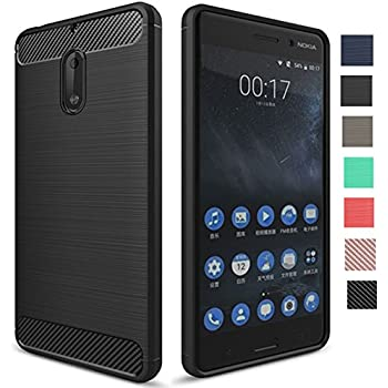 "Nokia 6 Case, Dretal [Shock Resistant] Flexible Soft TPU Brushed Anti-fingerprint Full-body Protective Case Cover For Nokia 6 (5.5"") (Black)"