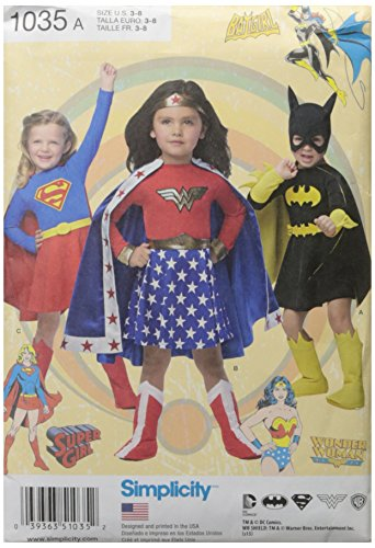 Simplicity Supergirl, Bat Girl, and Wonder Woman Costume Sewing Patterns for Girls, Sizes 3-8 -